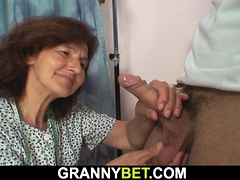 Clothed granny loves sucking..