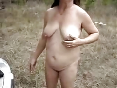 My old slut outdoor showing..