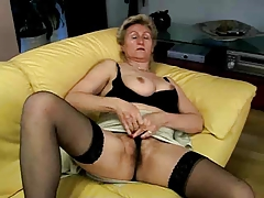 granny masturbating on..