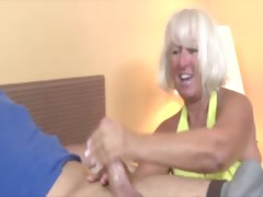 Granny gets cumshot from..