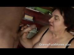 Ugly fat granny sucking on..