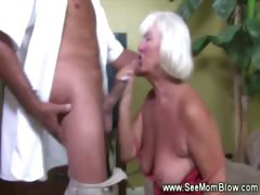 Granny goes down on cock..
