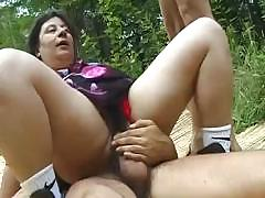 Middle-aged slut takes two..