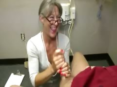 Horny granny tugging cock..