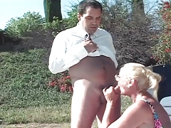 Blonde mature enjoys..