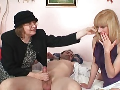 Blonde shares Cock with old..