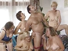 Five grannies plus man