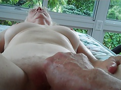 Handjob on porch..
