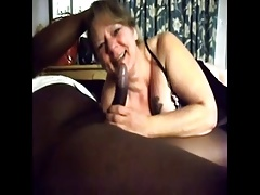 White Granny gives blowjob..