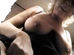 Mart granny with saggy boobs.