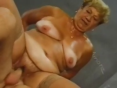 Granny increased by young cock