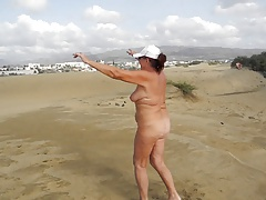 Old whore doing exercises in..