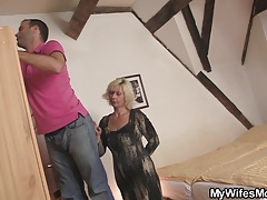 Blonde mother-inlaw seduces..