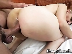 Granny anal creampied