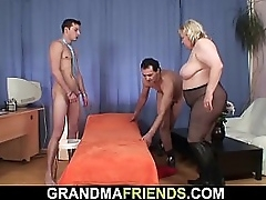 Old granny swallows 2 dicks