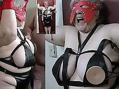 Granny nipples tortured with..