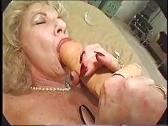 Hairy Granny Loves Dildo and..
