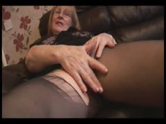 Blonde granny in pantyhose..