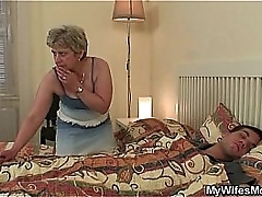Cock-hungry granny fucks her..